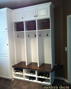 Nice idea for organization and storage in a mudroom or laundry room!