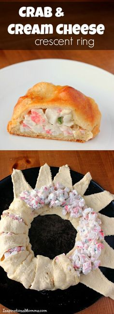 Crab and cream cheese crescent ring. With crispy, flaky crescent rolls filled a delicious crab and cream cheese mixture, this Crab & Cream Cheese Crescent Ring is simple and scrumptious! Snacks Für Party, Appetizers For Party, Appetizer Recipes, Seafood Appetizers, Cream Cheese Recipes Dinner, Fruit Appetizers, Dinner Recipes, Party Dips, Dinner Parties