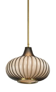 'onion' form pendant light chandelier - glass metal - usa - circa 1970's
