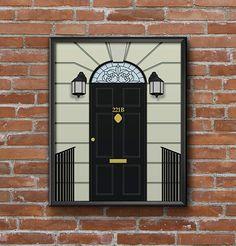Sherlock Holmes Print Artwork, Printable Wall Art, 221B Baker Street Door, Geeky Print Poster, Fandom Home Decor, Instant Digital Download