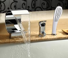 Find More Bath & Shower Faucets Information about Modern New Designed Bathroom Deck Mounted Polished Chrome Brass Bathtub Faucet 3 PCS Mixer Tap,High Quality faucet generator,China faucet single Suppliers, Cheap faucet valve from Shipp bathroom on Aliexpress.com