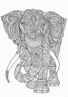 Coloring Page World Elephant Portrait