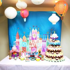 it's a small world party dessert table