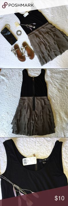 NWT...Black/Charcoal Grey Forever 21 Dress! NWT.... Black top with Charcoal Grey layered bottom with back zipper! Price is for only Dress other items sold separately. Forever 21 Dresses Mini