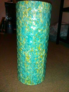 This $6.00 heavy weight glass vase  with price still attached originally came from Home Goods for $16.00... it's going in my bathroom, thinking of spray painting it a solid color..