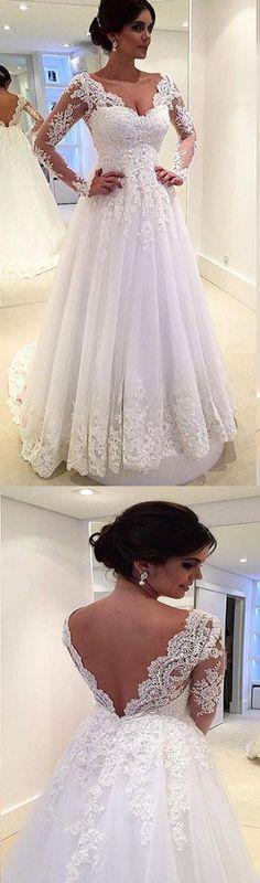 Long Sleeve V-Back Lace A-line Vintage Romantic Plush Size Wedding Dress. RG0182