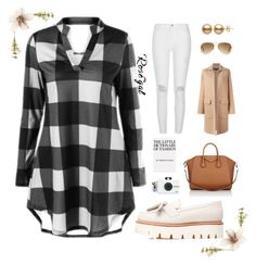 """""""Contest Entry: Rosegal"""" by averie-asajar on Polyvore featuring Grenson, Givenchy, Rochas, Ray-Ban, River Island, Polaroid, Abigail Ahern, plaid, casualoutfit and whitejeans"""
