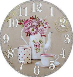 Clock Craft, Diy Clock, Decoupage Furniture, Decoupage Paper, Clock Face Printable, Paper Clock, Decoupage Printables, Fancy Watches, Cupcake Images