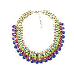 Colorful statement necklace,rainbow paved chain chunky necklace,choker bib necklace, fashion jewellery,colorful chain necklace collier 2014, $9.99