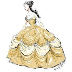 Belle Sketch by PhLightAttendant ❤ liked on Polyvore featuring disney, art, beauty and the beast, drawings and drawing