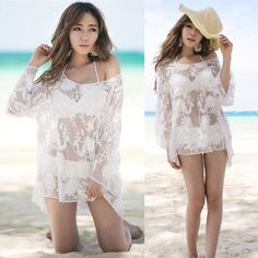 Sexy 1pcs Summer Beach Women Lace Crochet Blouse Hollow Out Bikini Cover Up Tops | eBay