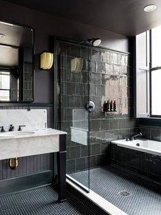 Bathroom decor for the master bathroom remodel. Discover master bathroom organization, bathroom decor some ideas, master bathroom tile tips, master bathroom paint colors, and much more. Hotel Bathroom Design, Modern Bathroom Design, Bathroom Renovations, Hotel Bathrooms, Dream Bathrooms, Bathroom Designs, Remodel Bathroom, Shower Remodel, Black Bathrooms