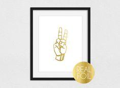 Peace Sign Foil Print // Gold Foil // Rose Gold Foil // Silver