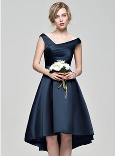 A-Line/Princess Off-the-Shoulder Asymmetrical Satin Bridesmaid Dress With Ruffle (007072804)
