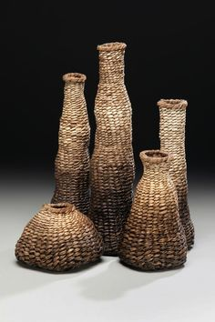 """Community"" - 5 piece grouping of twined Kudzu and Poplar Bark Vessels.    http://www.matttommey.com"