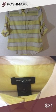 NWT XS Ann Taylor striped button up blouse Smoke free home! Great deal! So pretty and stylish!!! This is a beautiful piece you can wear anywhere, school, work, office, interview, party, or casual!   Feel free to make an offer and check out my other items for bundling products for a better deal!!!! Ann Taylor Tops Button Down Shirts