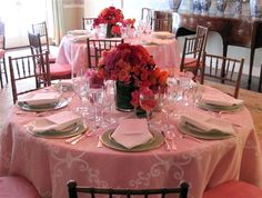After wedding bridal shower Janet Simon hosted for family.  The layering of color and details is spectacular!  Janet Simon, Inc. |   Views from Hidden Pond