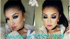 Maquillaje en TONOS FRIOS  ahumado/ Smokey Eye in COLD tones makeup tuto...