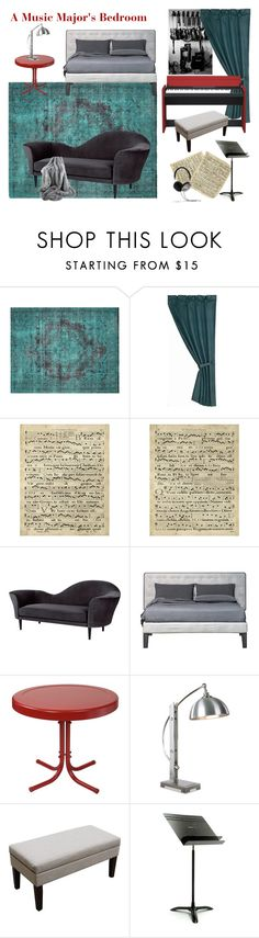 """""""A Music Major's Bedroom"""" by emberwarrior on Polyvore featuring interior, interiors, interior design, home, home decor, interior decorating, Nalbandian, HiEnd Accents, Art Classics and Gubi"""