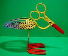 Flowers From Metal Spoons | WELDED SPOON BIRD Welded Metal Sculptures by Scraprevival