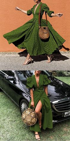 Green Dress Fashion summer dress for women, suitable for spring, summer and fall, one of your best c African Attire, African Wear, African Fashion Dresses, African Dress, Mode Outfits, Fashion Outfits, Fashion Trends, Cute Dresses, Beautiful Dresses