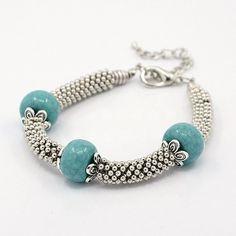 Tibetan Silver Beads Bracelets, Acrylic Beads with Iron Bead Tips -- Jewelish.com