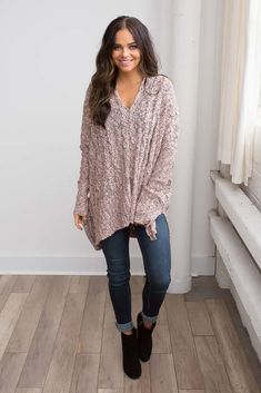 Shop our Two Tone Cable Knit Tunic Sweater in Pink/Black. Pair with skinny jeans and booties for a chic look. Always free shipping on all US orders.