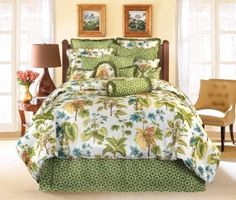 Rose Tree Caladium Queen Comforter Set