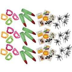 Halloween Party Favory Set- Vampire Fangs, Witch Fingers, Spider Rings,  #PartyFavors