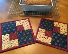 Pot Holders /Quilted Potholders / Patriotic Potholders / Hot Pads / Item #1336
