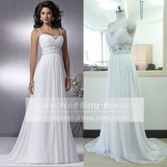 New Chiffon White/Ivory Wedding dress A line Long prom dresses Evening dress6-16 in Clothing, Shoes & Accessories, Wedding & Formal Occasion, Wedding Dresses | eBay