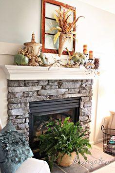 autumn fireplace mantle, mantel