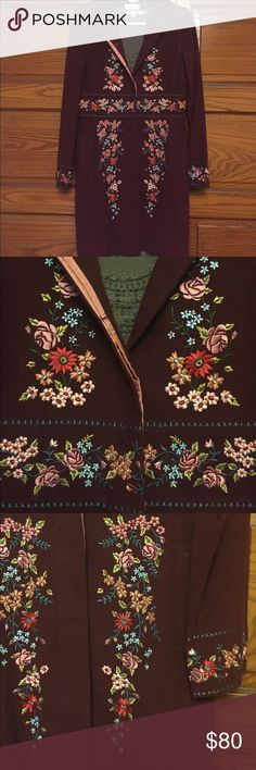 Anthropologie embroidered burgundy coat Spring/Fall knee- length coat from Anthropologie.  Burgundy with detailed embroidered flowers.  In excellent condition. Anthropologie Jackets & Coats