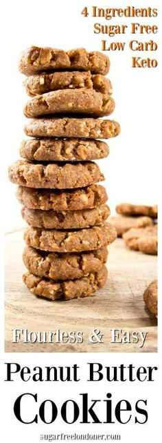 Flourless low carb peanut butter cookies - easy, quick and only 4 ingredients needed. Perfect for low carb and keto diets. Gluten free and sugar free!