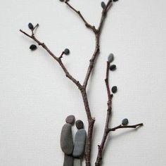 DIY z kamieni dekoracja eco manufaktura Pebble Art Pebble Stone, Pebble Art, Stone Art, Stone Crafts, Rock Crafts, Arts And Crafts, Diy Crafts, Rock Sculpture, Ribbon Sculpture