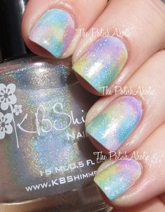 Watercolor Nail Art with OPI Sheer Tints and added KB Shimmer Holo Topcoat.  UNICORNS EVERYWHERE ARE JEALOUS.