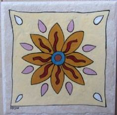 Hand painted tile by Monica tiles Leaf Tattoos, Tiles, Hand Painted, Stone, Flowers, Color, Room Tiles, Rock, Tile