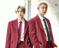 Park Chanyeol Exo, Baekhyun, Exo Chanbaek, Parks, Suit Jacket, Couples, Jackets, Color, Instagram