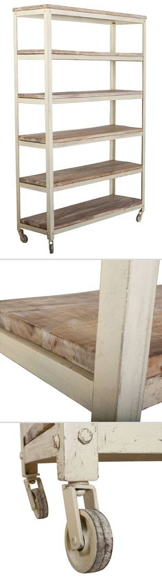 "C.G. Sparks Haridwar 5-Shelf Rack :: Retail $ 2200, OKL $ 999 (+200 shipping, prorated for more) | OneKingsLane.com :: [49""w x 16""d x 75""h; 10"" shelf heights] Mango wood & iron on casters :: Oh how I love this baker's rack style shelf! It's perfect! But then again, C.G. Sparks makes great stuff! (And what a great price! It's over 3 grand on the C.G. Sparks website!) 