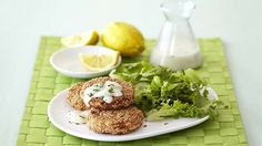 Sesame Crab Cakes with a Lemon Butter Sauce Lemon Butter Sauce, Crab Cakes, Salmon Burgers, Seafood, Tasty, Snacks, Dinner, Cooking, Breakfast