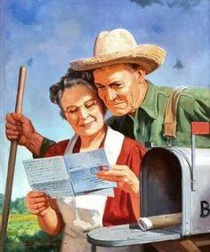 John Newton Howitt (American, - The Letter, calendar illustration Oil… Post Bus, Westerns, John Newton, Vintage Farm, Letter Art, Letter Writing, Norman Rockwell, Mail Art, Vintage Posters