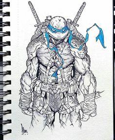 Leo Ninja Turtles Art, Teenage Mutant Ninja Turtles, Ninja Turtle Tattoos, Art Sketches, Art Drawings, Arte Ninja, Leonardo Tmnt, Sketches Tutorial, Arte Pop