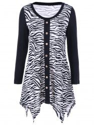 Plus Size Zebra Pattern Single Breated Tee in White And Black | Sammydress.com Mobile