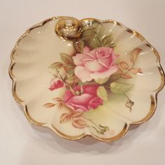 Bone China Vintage Rose Dish Scalloped Shell Shape Tolpin Art Studio & TheGayraj on Etsy | Antique Plates | Pinterest | Shops and Etsy
