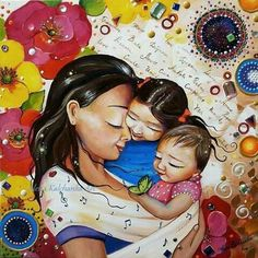 mom with two children. Mother Daughter Art, Mother Art, Mother And Child, Female Pictures, Love Pictures, Child Love, Second Child, Popular Art, Baby Art