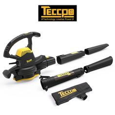 Leaf Blower Vacuum, TECCPO 12-Amp 250MPH 410CFM 3 in 1 Corded Electric Two-Speed Professional Sweeper/Vac/Mulcher with Powerful Motor and Metal Blade - TABV01G Garden Power Tools, Leaf Blower, Outdoor Power Equipment, Blade, Cord, Electric, Gardening, Amp, Metal