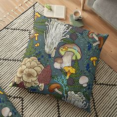 'mushroom forest' Floor Pillow by smalldrawing Room Ideas Bedroom, Bedroom Decor, Forest Bedroom, Indie Room Decor, Mushroom Decor, Forest Decor, Floor Art, Dream Rooms, Floor Pillows