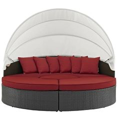 Modway Furniture Sojourn II Red Daybed / table / ottoman set in rattan Outfit your patio with an