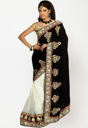 Black coloured embellished saree for women by Parvati. Made from velvet, this saree measures 5.5 m in length, and comes with unstitched blouse piece of 0.8 m.