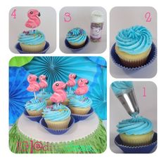 Step by step flamingo cupcakes